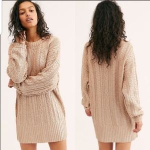 NEW Free People Good As Gold Knit Sweater Dress